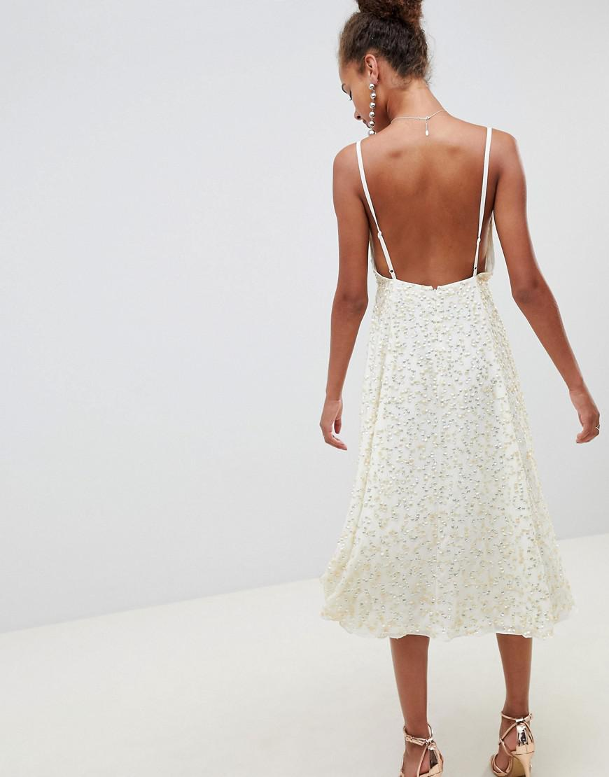 7bc9302472 ASOS Delicate Sequin Midi Plunge Dress With Full Skirt in Natural - Lyst