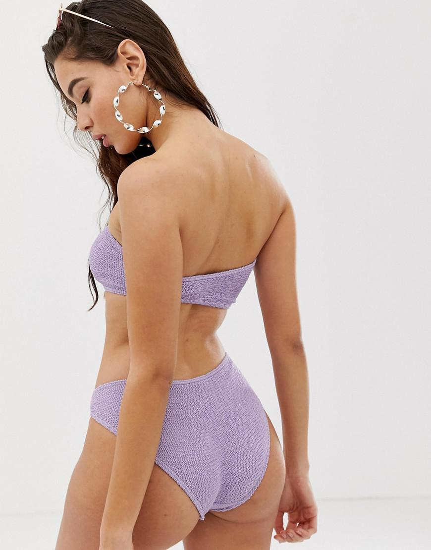 7555a2cb1bb5b Lyst - ASOS Mix And Match Crinkle Bandeau Bikini Top In Shiny Lilac in  Purple