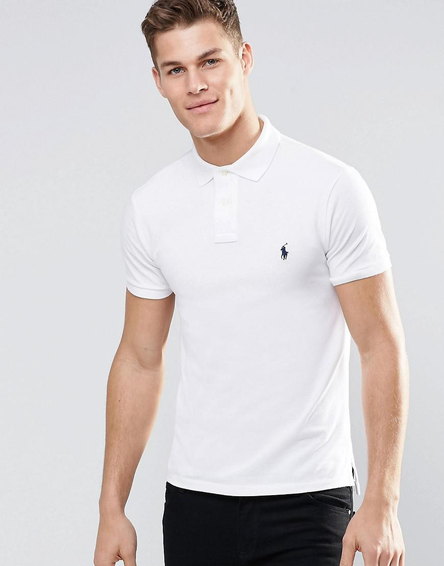 9e2ecdada6d91 Polo Ralph Lauren Slim Fit Polo With Logo In White in White for Men ...