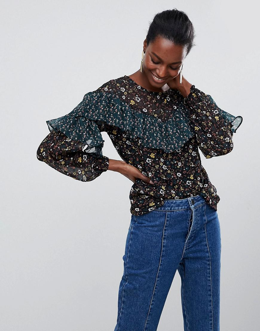 Online Shopping Floral Ruffle Panelled Blouse - Black Vila Buy Cheap For Cheap CD6MawjkDb
