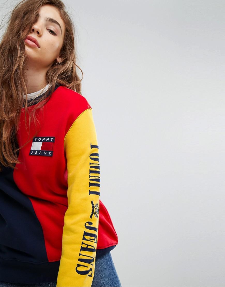 4efd197c348178 Lyst - Tommy Hilfiger Tommy Jeans 90s Capsule Colourblock Sweatshirt