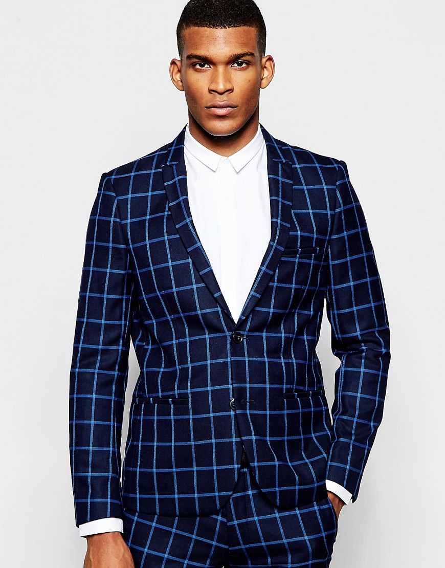 Vito Check Suit Jacket In Slim Fit in Blue for Men | Lyst