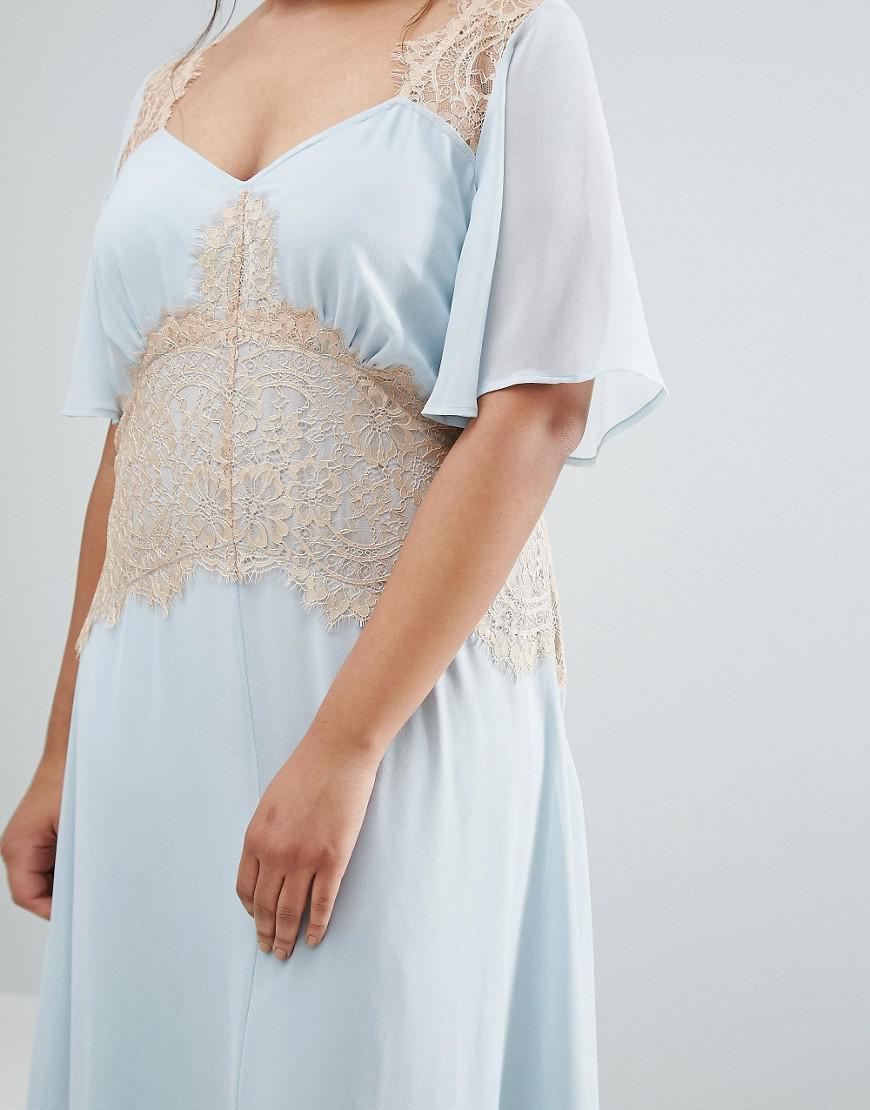 b5c36cde1fa Lyst - ASOS Wedding Contrast Lace Panel Maxi Dress in Blue