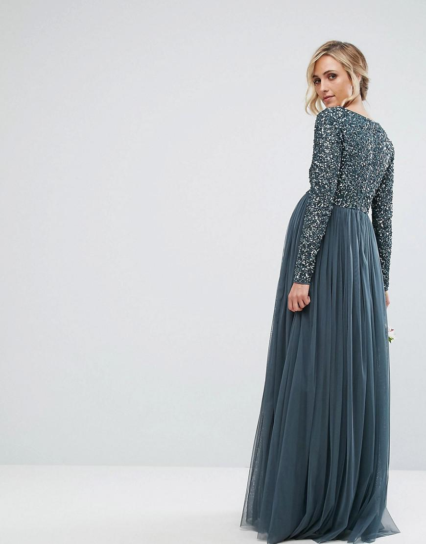 affe3b8eacf4a Maya Plus Long Sleeve Maxi Dress With Delicate Sequin And Tulle Skirt |  Huston Fislar Photography
