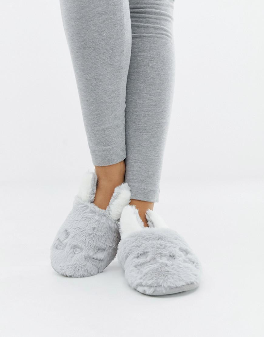 960bec342 New Look Bunny Mule Slippers in Gray - Lyst