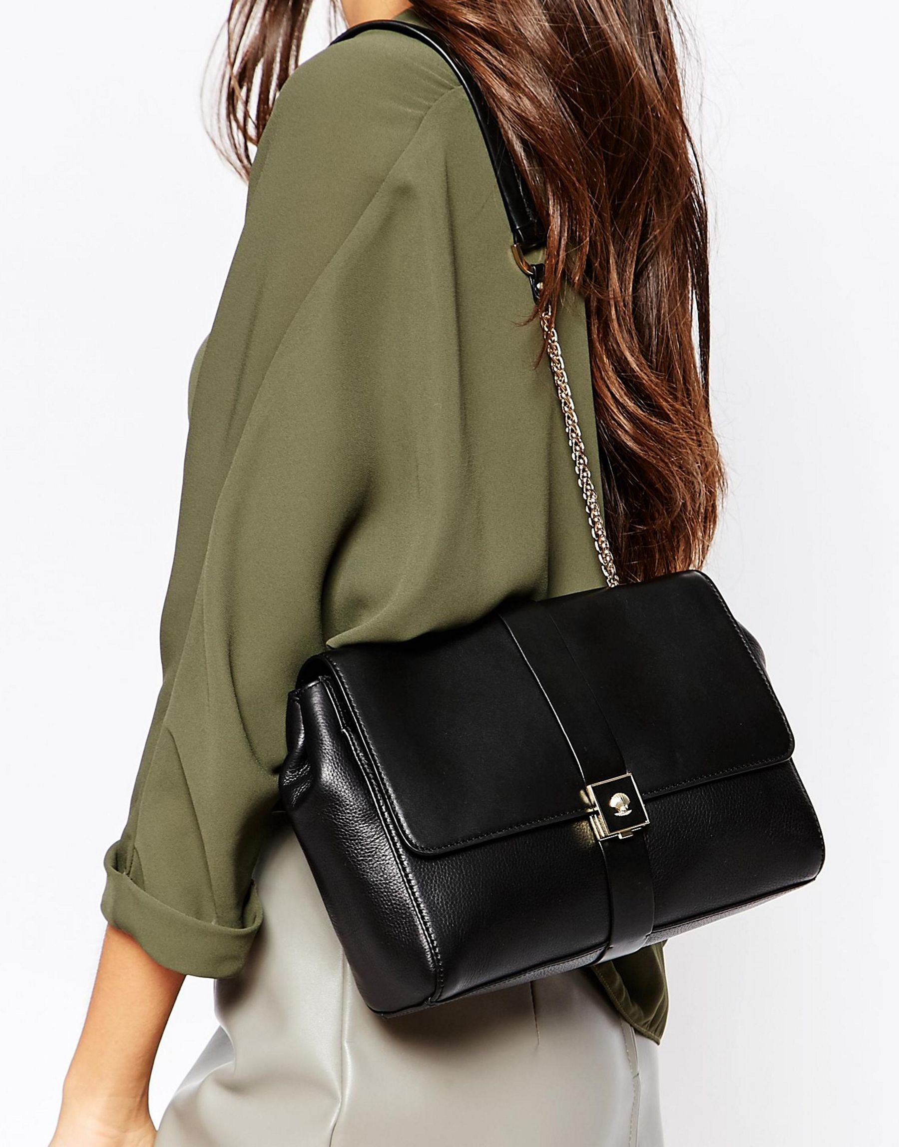 Modalu Small Leather Flap Over Shoulder Bag in Black | Lyst