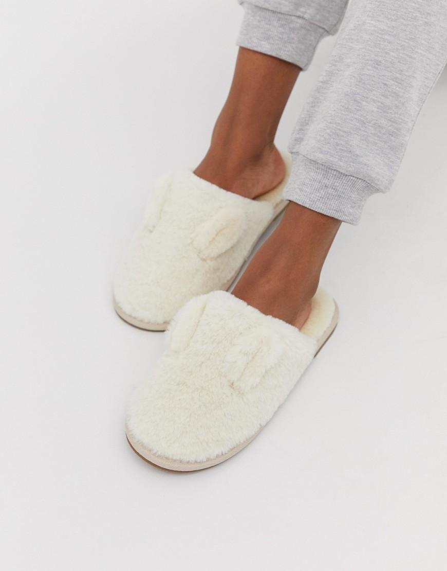 63cc1662737 Vero Moda Fluffy Slip On Mule Slippers in White - Lyst