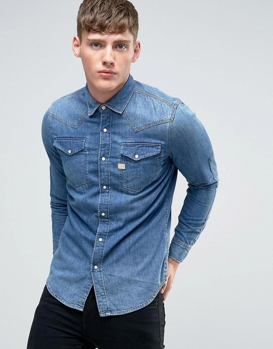 lyst g star raw tacoma denim shirt in blue for men. Black Bedroom Furniture Sets. Home Design Ideas