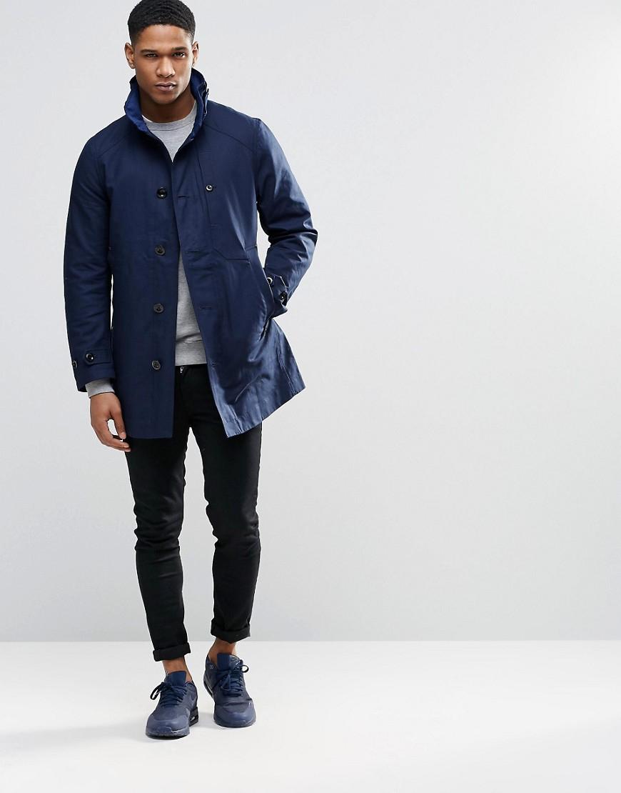 g star raw garber trench coat in blue for men lyst. Black Bedroom Furniture Sets. Home Design Ideas