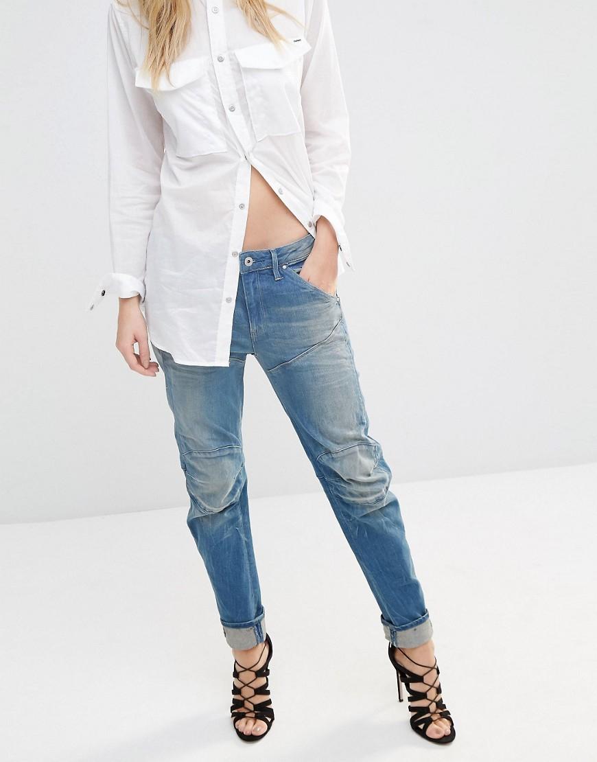 star raw ellwood 3d low boyfriend jeans blue in blue lyst. Black Bedroom Furniture Sets. Home Design Ideas