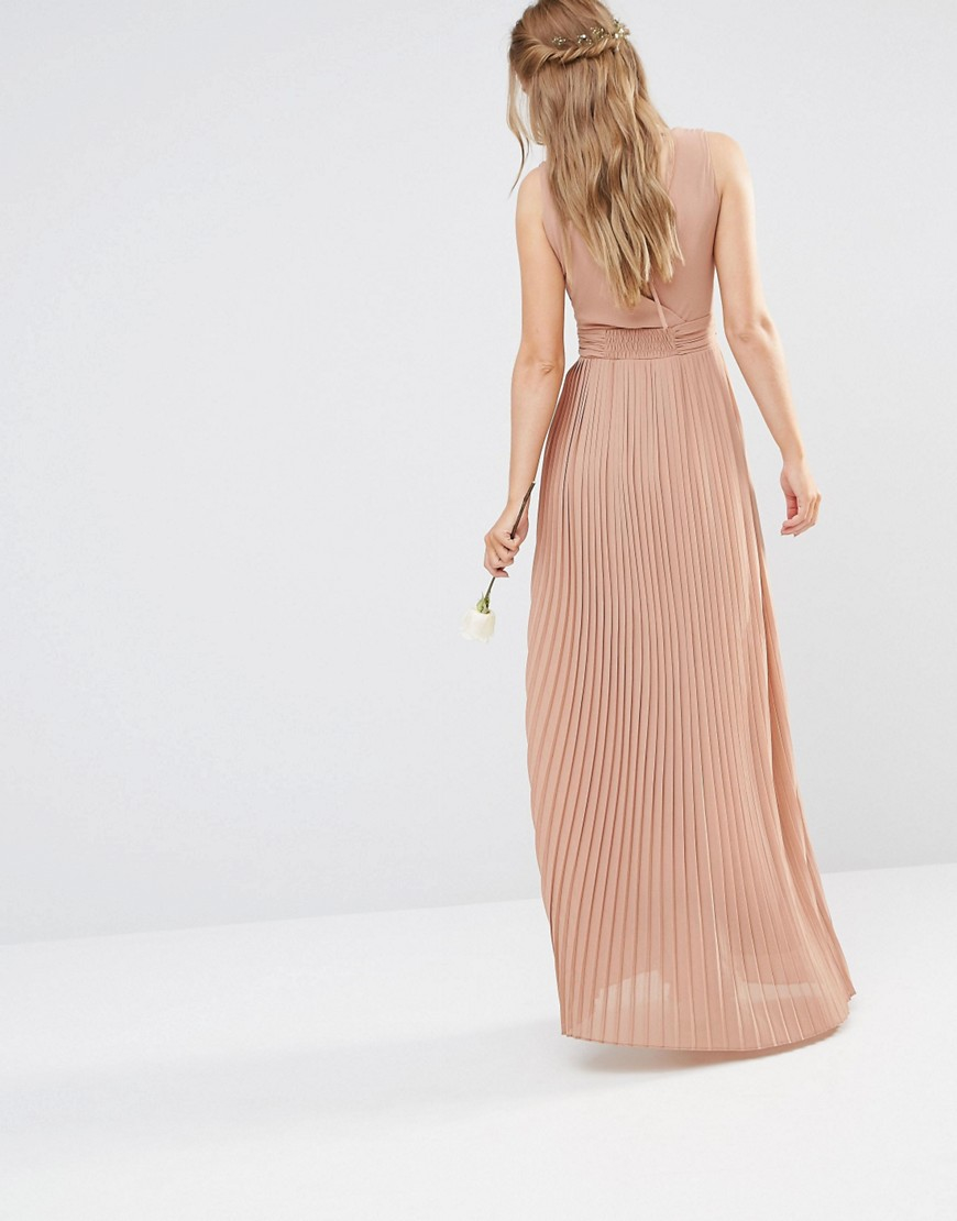 8785b1edb6f TFNC London Wedding Pleated Wrap Maxi Dress in Brown - Lyst