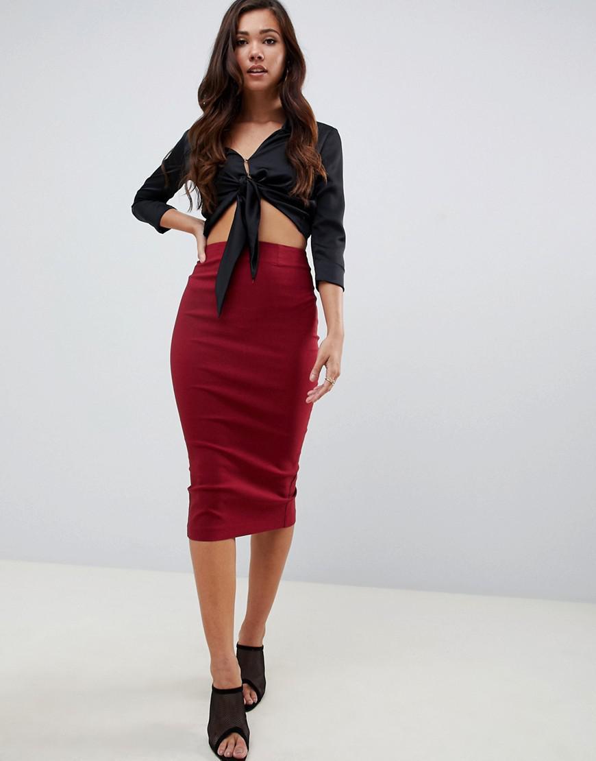 0be73e6ed75a Lyst - ASOS High Waist Longerline Pencil Skirt in Red