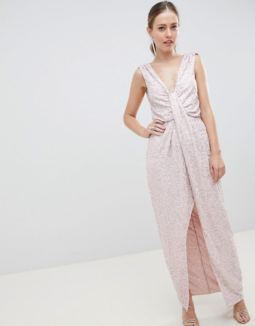 63acdbbecf98 ASOS. Women s Drape Knot Front Scatter Embellished Sequin Maxi Dress