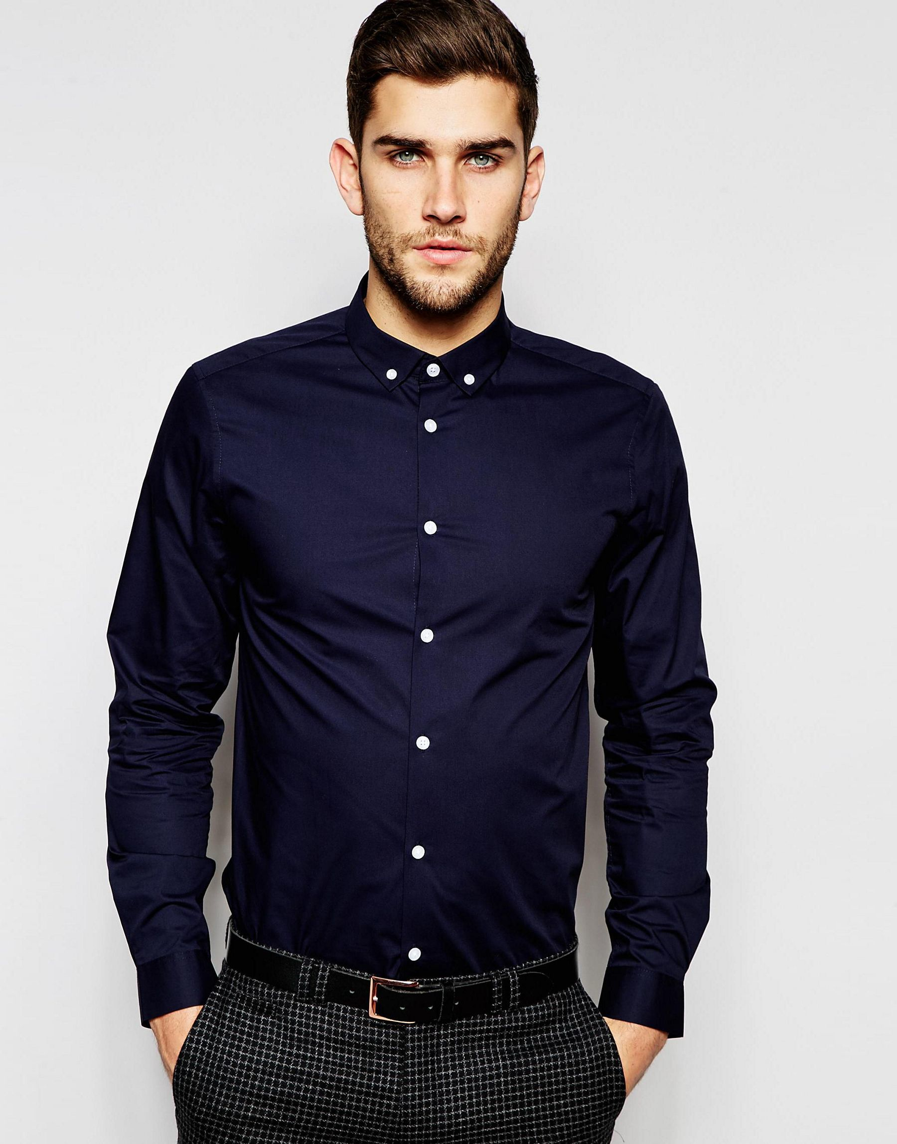Asos Navy Shirt With Button Down Collar In Regular Fit