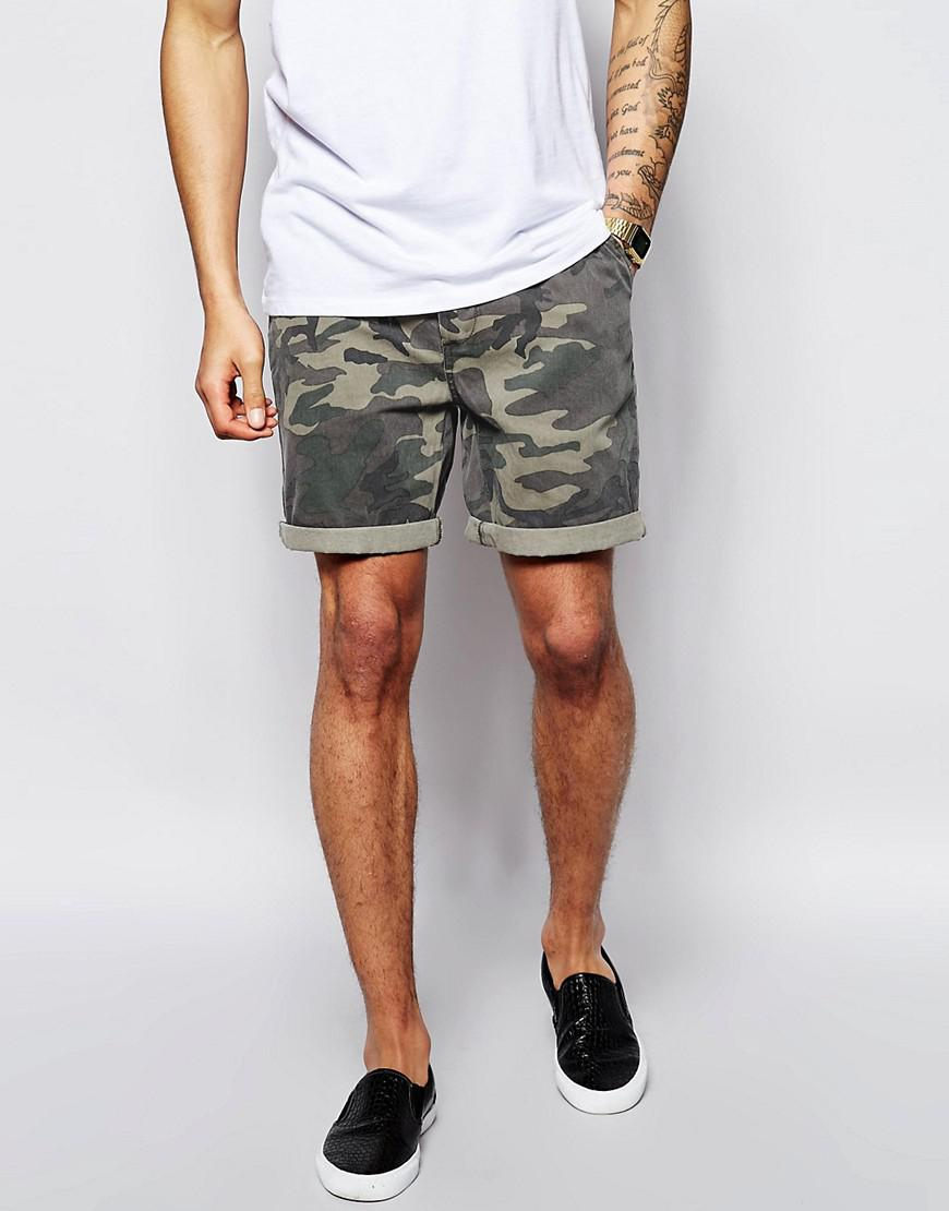 ASOS. Men's Green Chino Shorts With Camo Print