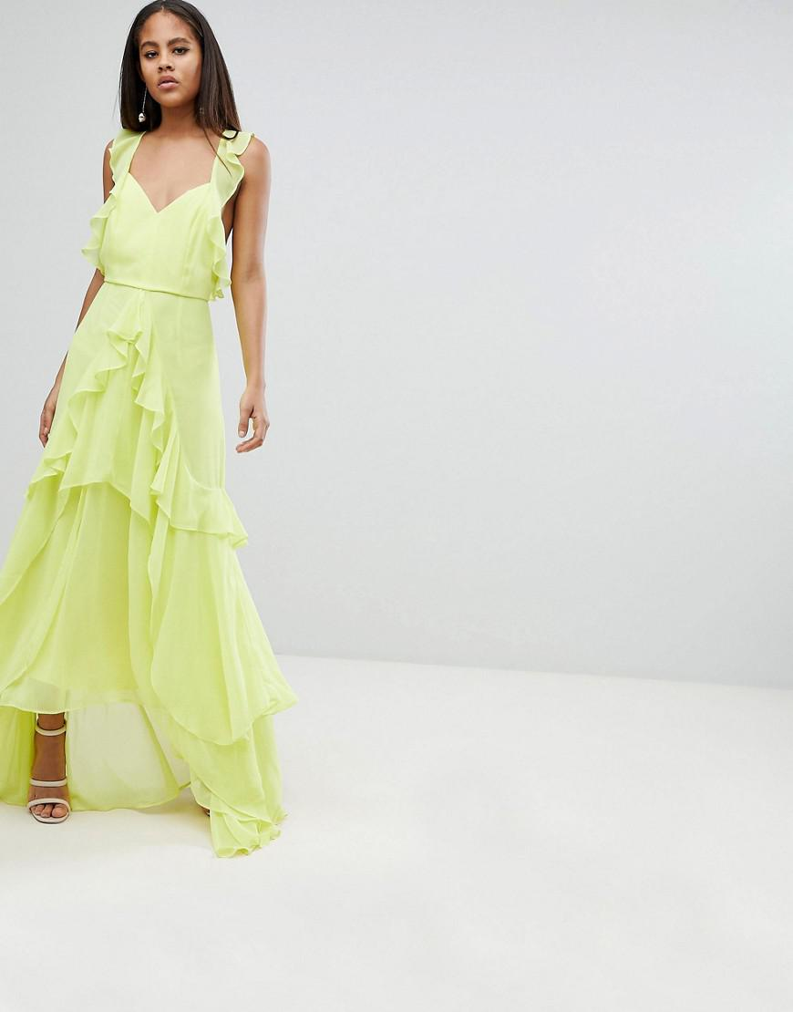 15a8b9a836 ASOS Asos Design Tall Ruffle Maxi Dress With Strappy Back in Yellow - Lyst