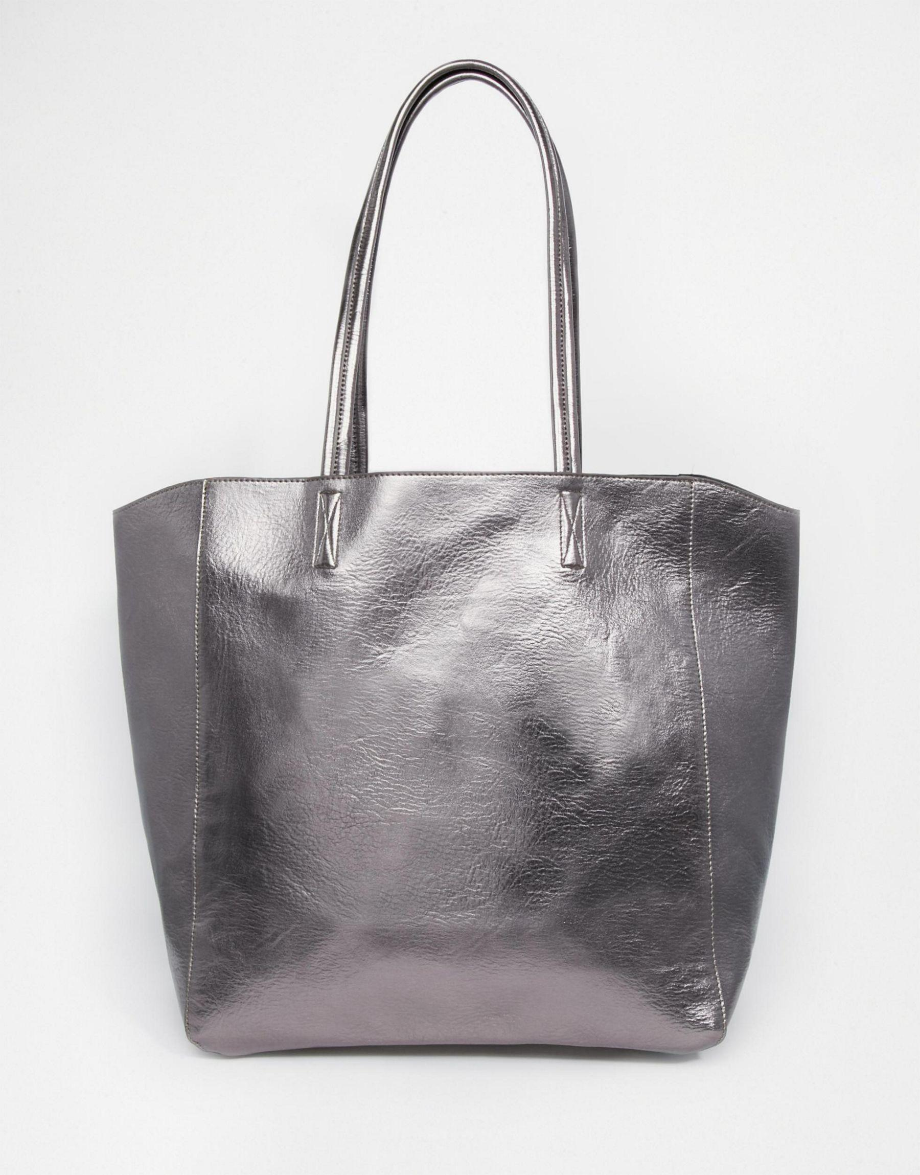 Asos Bags Metallic Shopper Bag Pewter - Purses