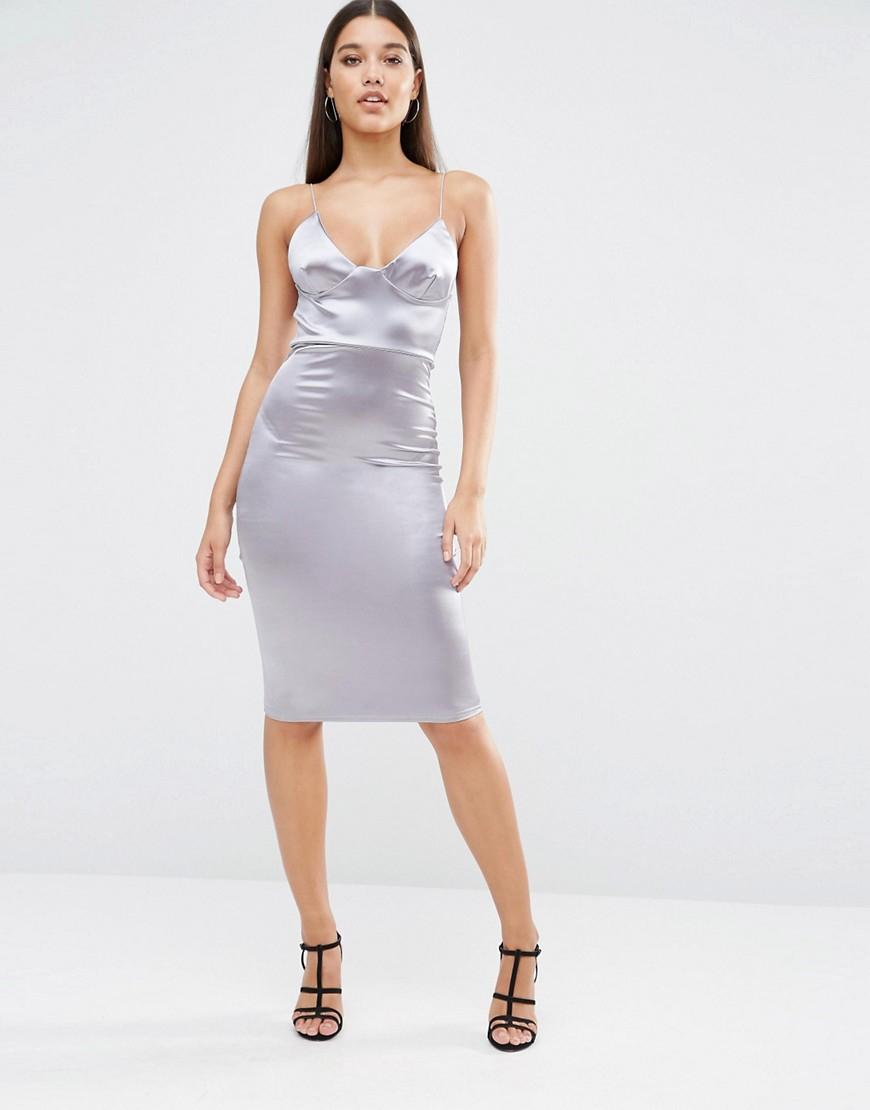 Club L Satin Cami Strap Midi Dress In Metallic Lyst