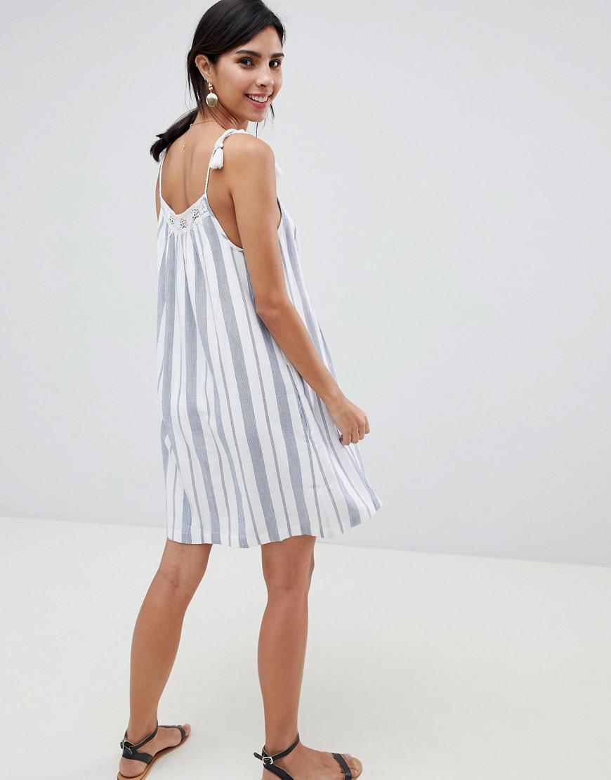 9b4614246e97 Abercrombie & Fitch Tie Shoulder Embroidered Swing Dress in Blue - Lyst