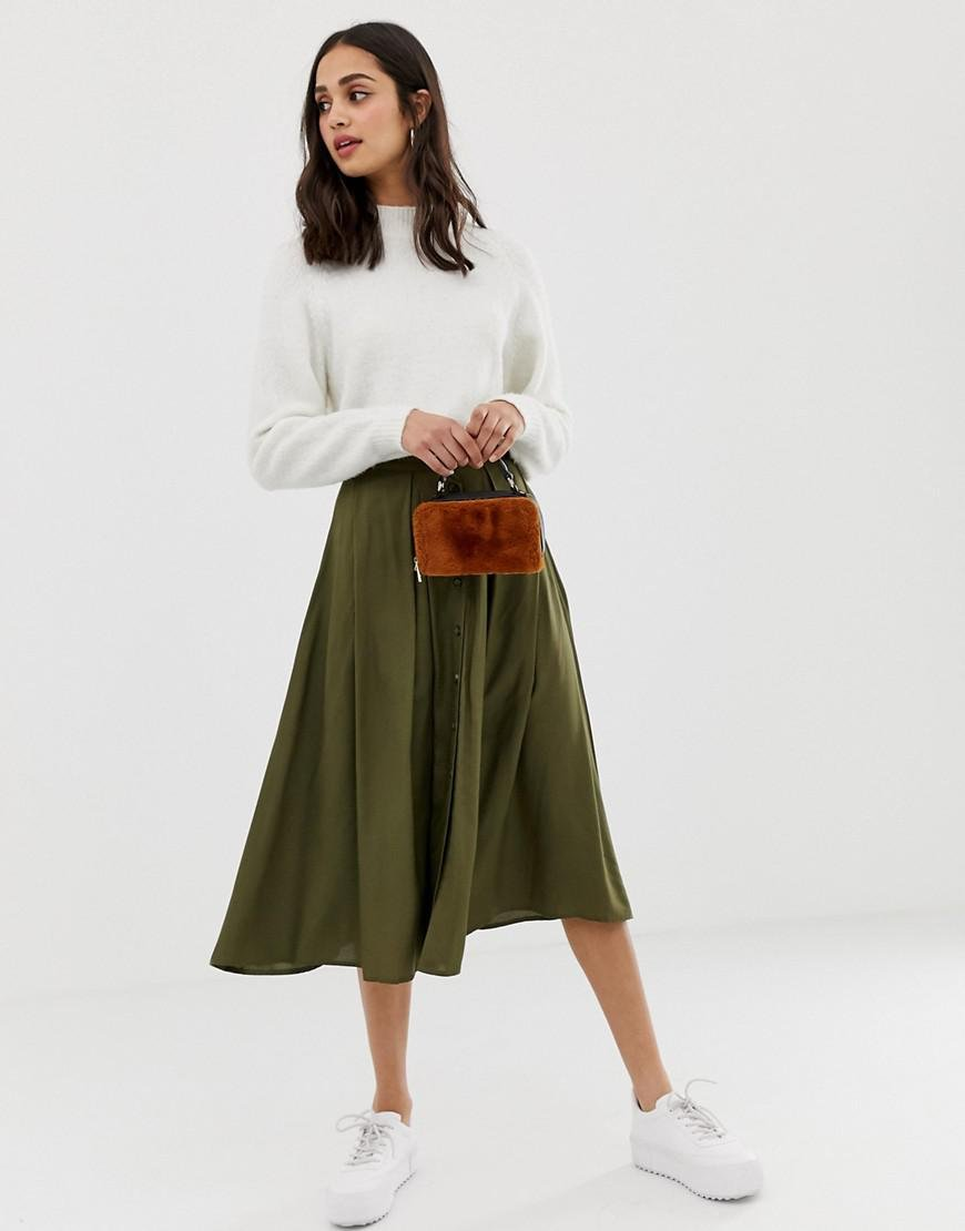 17e922db0 ASOS Button Front Floaty Midi Skirt With Pleats in Green - Lyst