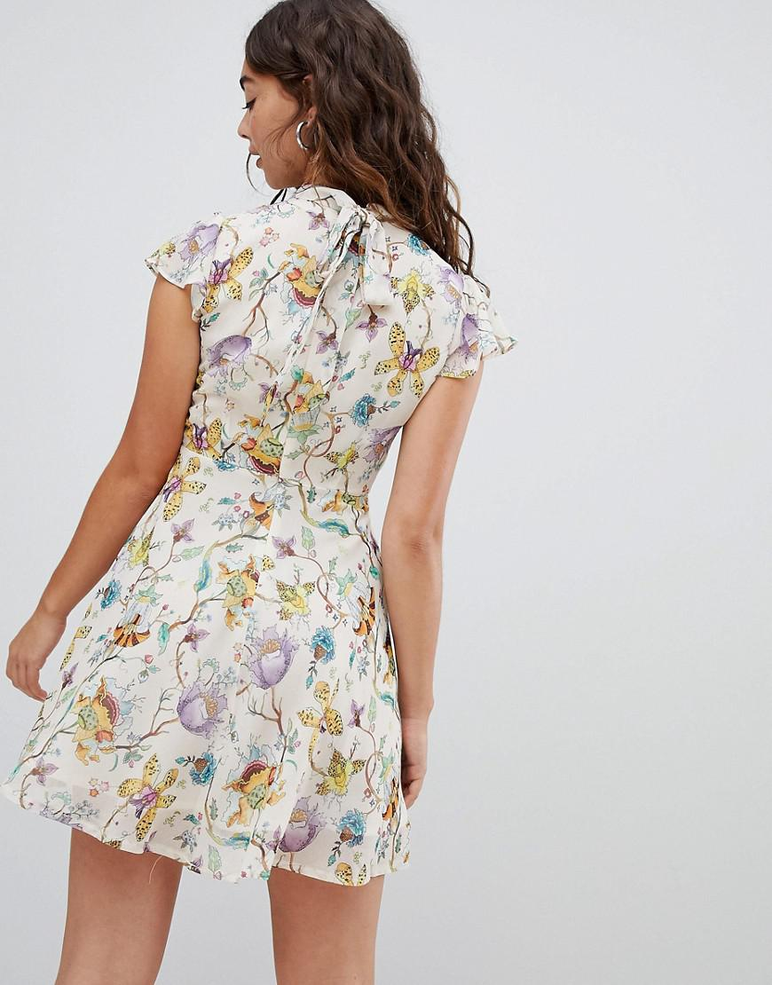 Glamorous High Neck Dress In Watercolour Floral in Natural - Lyst 743e903af