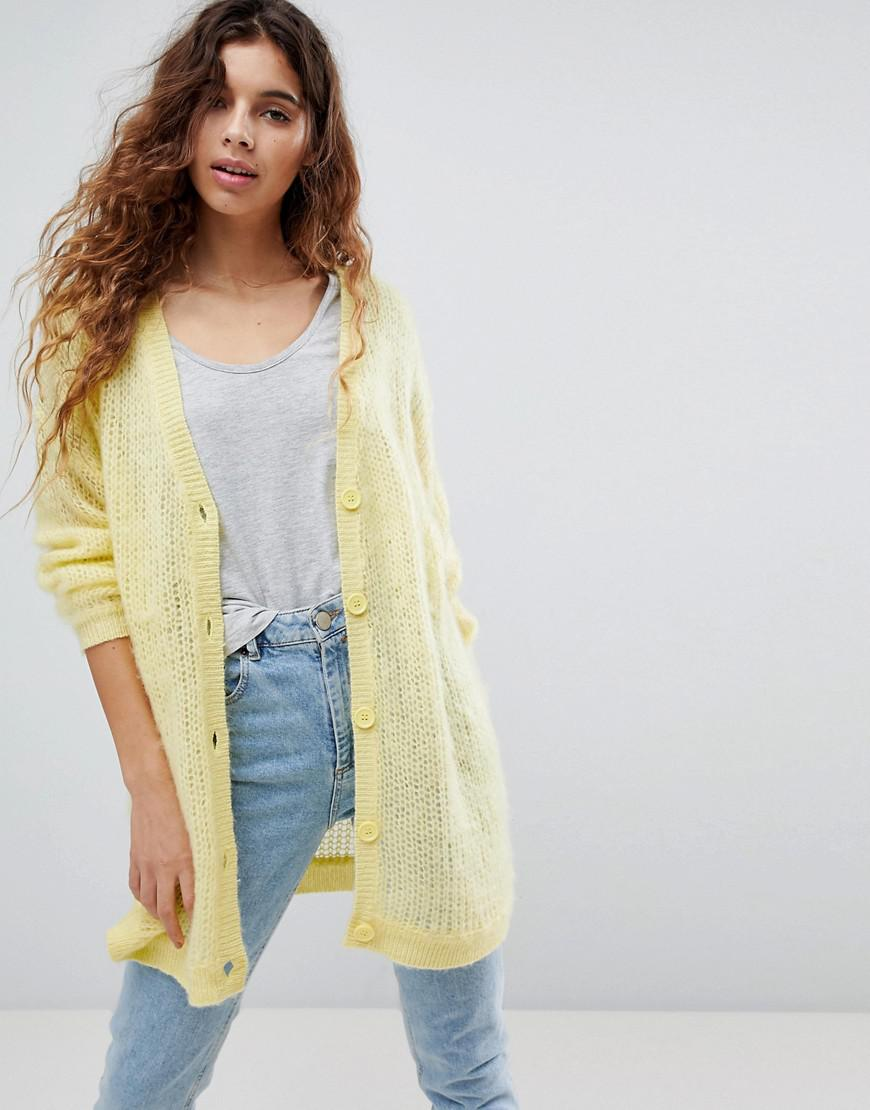 Asos Asos Cardigan In Fluffy Open Knit in Yellow - Lyst ad6889c9b