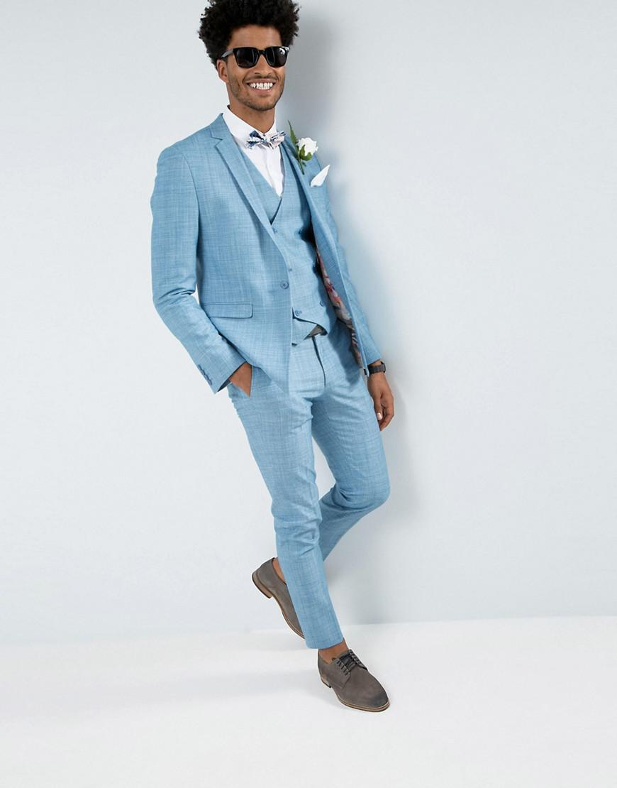 Lyst - Asos Wedding Skinny Suit Pant In Crosshatch Nep In Light Blue ...