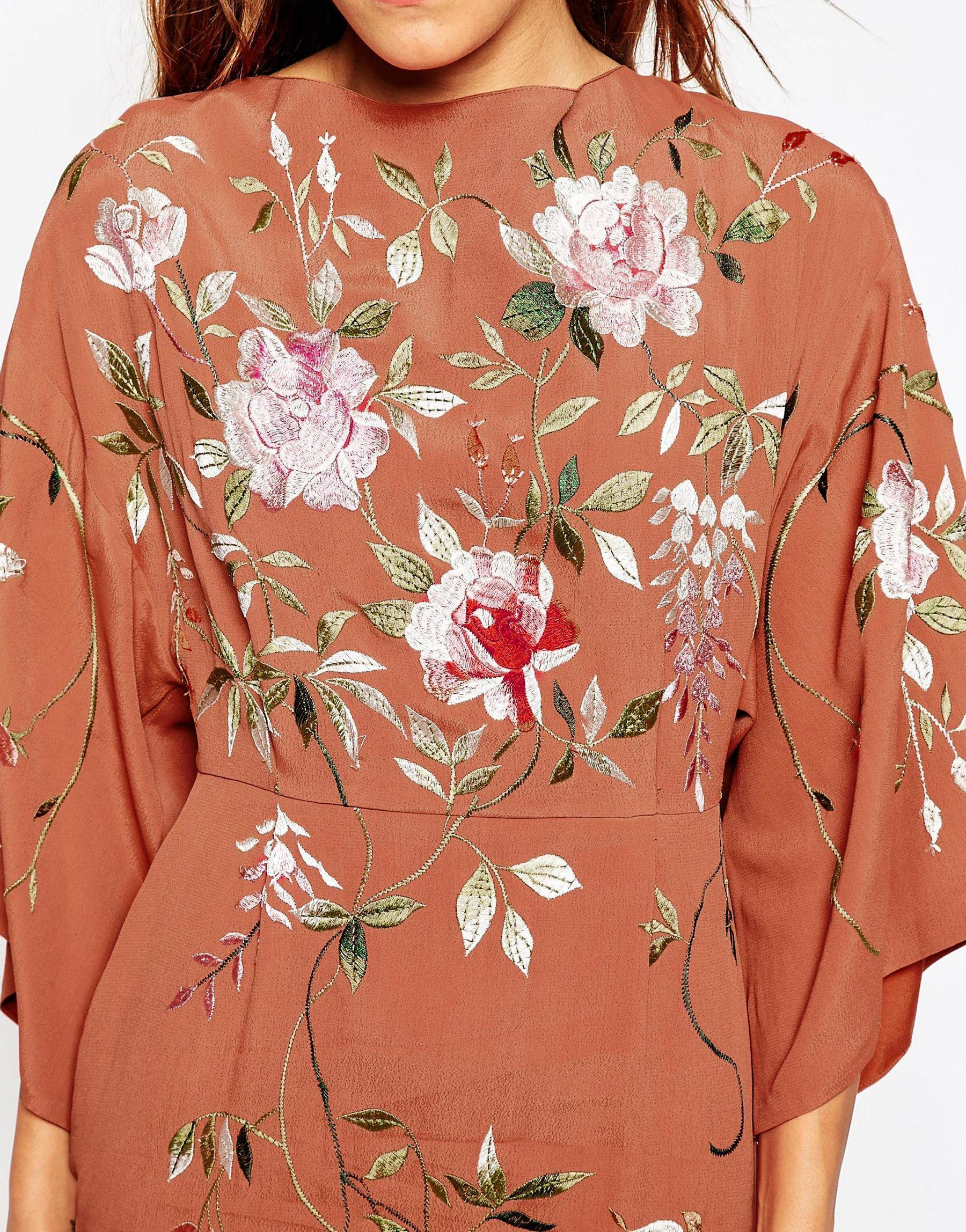 8a4337ade8c78 ASOS Petite Embroidered Kimono Sleeve Mini Dress in Brown - Lyst