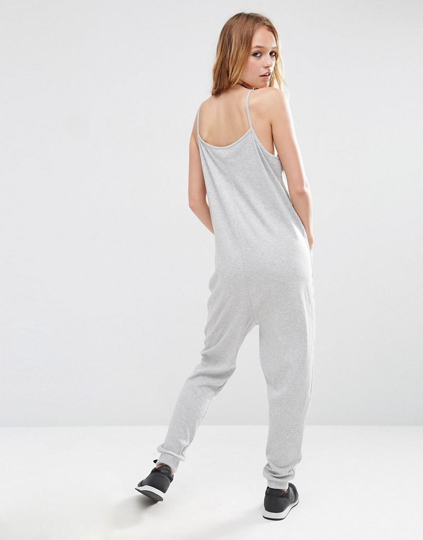 ac4b57eaca4b ASOS Lounge Jersey Jumpsuit in Gray - Lyst