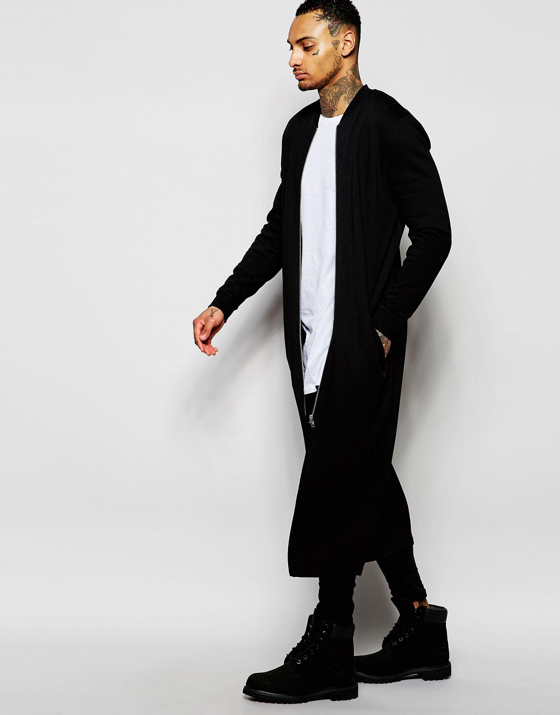 Asos Extreme Longline Jersey Bomber With Zips in Black for Men | Lyst