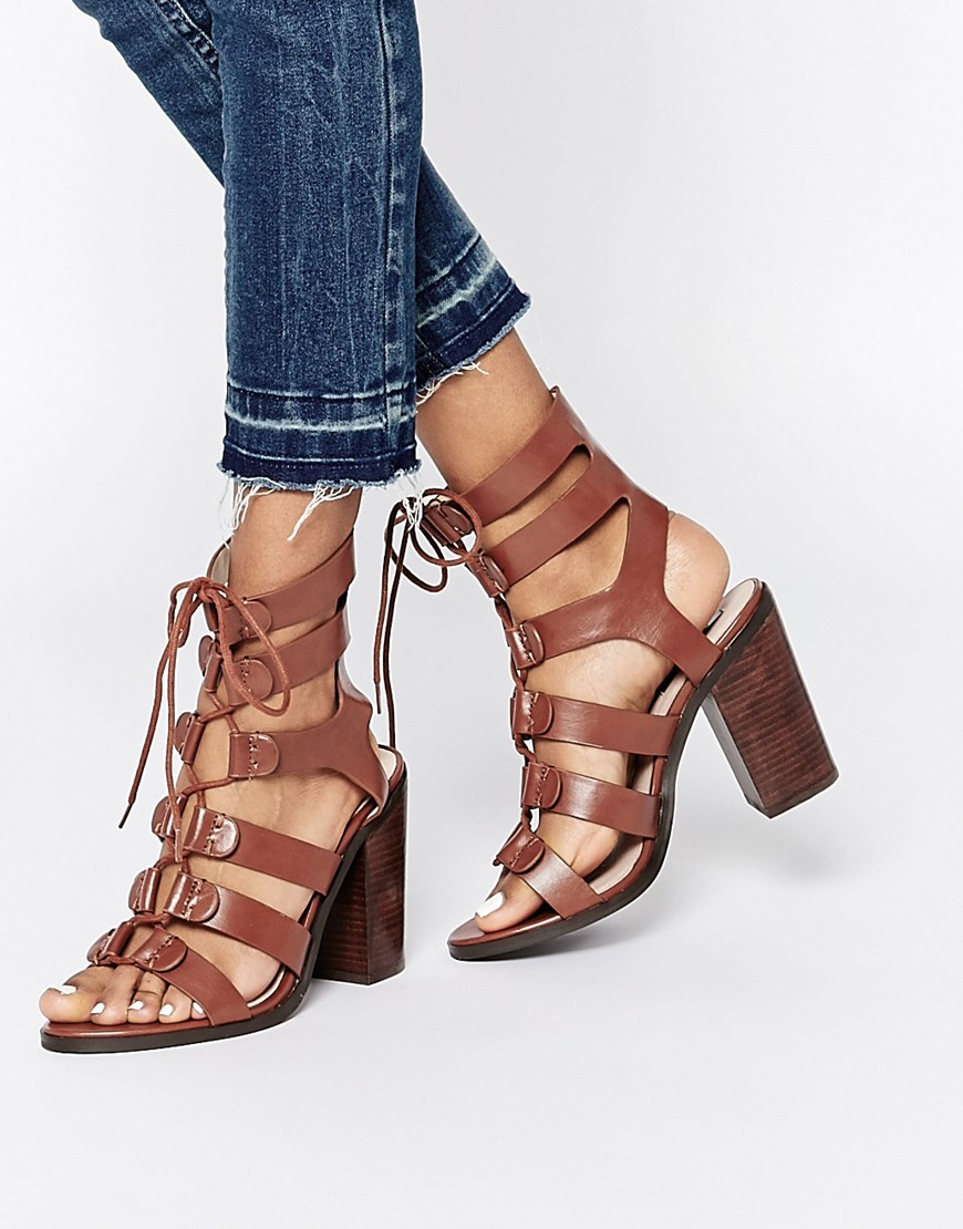 4270c5e3d9b7 Lyst - Lost Ink Roman Ghillie Lace Up Heeled Sandals in Brown