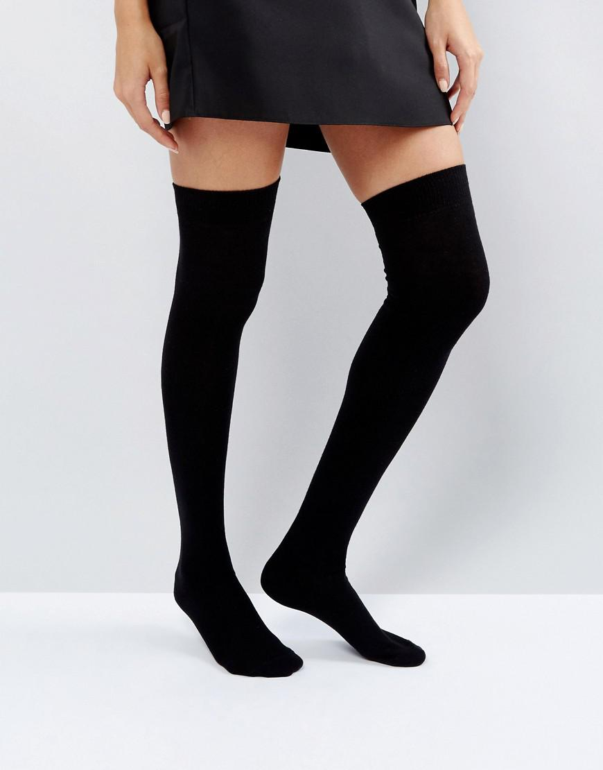 46fb60e55c2 ASOS Thigh High Socks in Black - Lyst