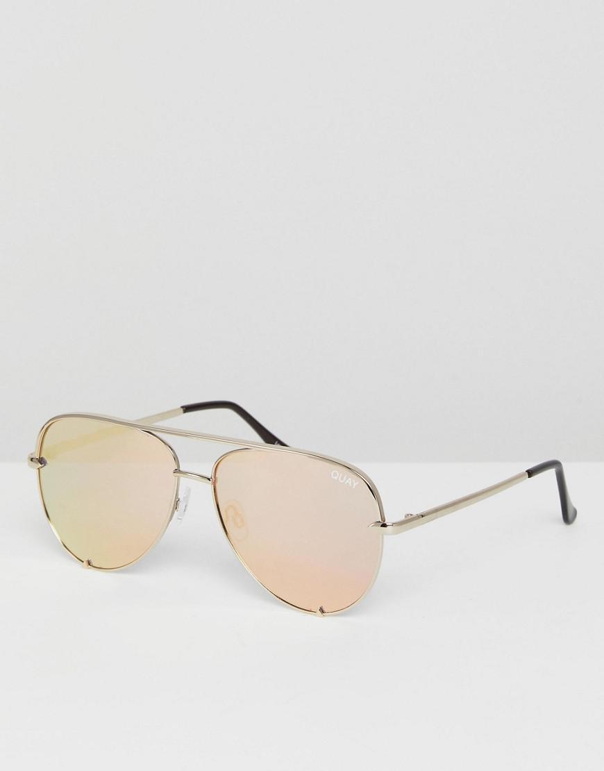 42eb467d9e8 Quay X Desi High Key Mini Aviator Sunglasses In Gold in Metallic for ...