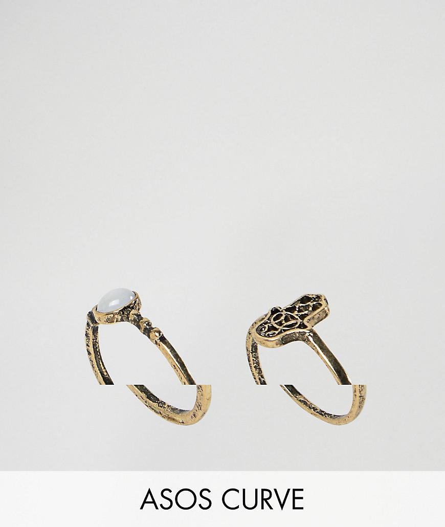 Asos Pack of 2 Hamsa Hand and Pretty Stone Rings - Gold QyVtNz