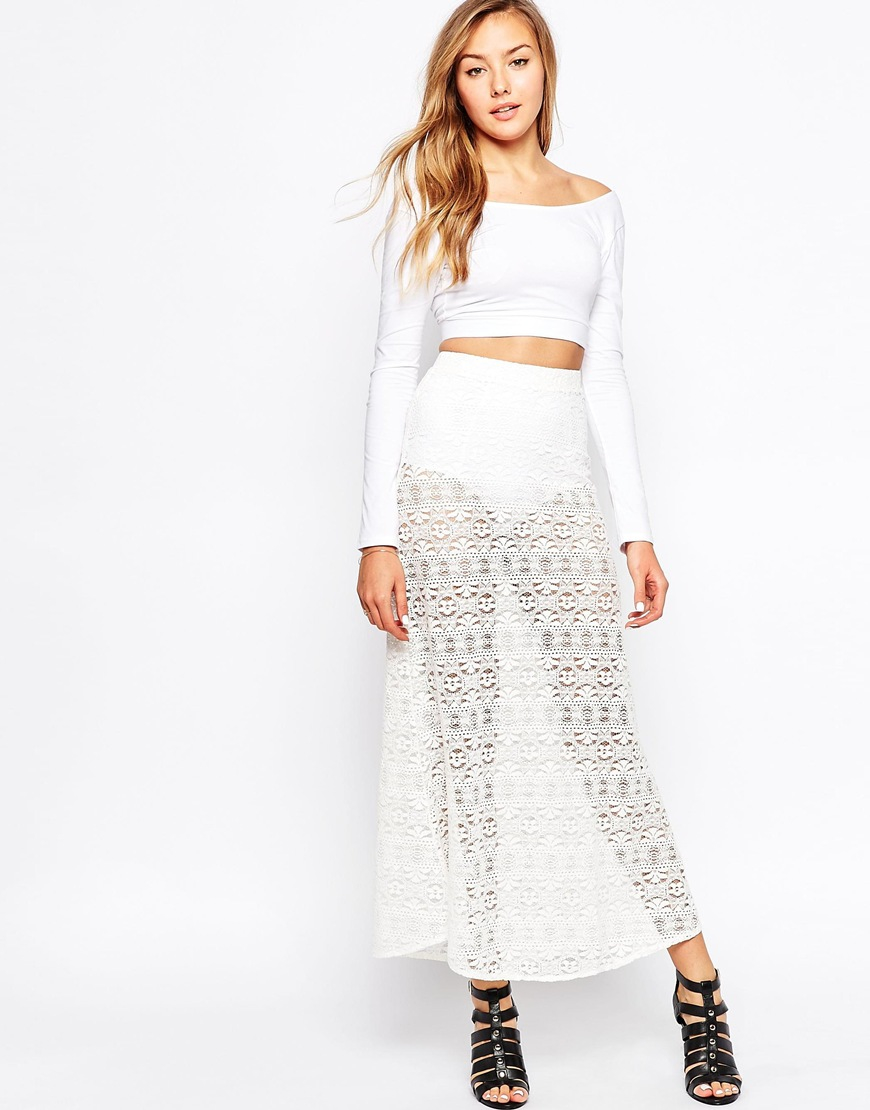 motel maxi skirt in boho lace in white lyst
