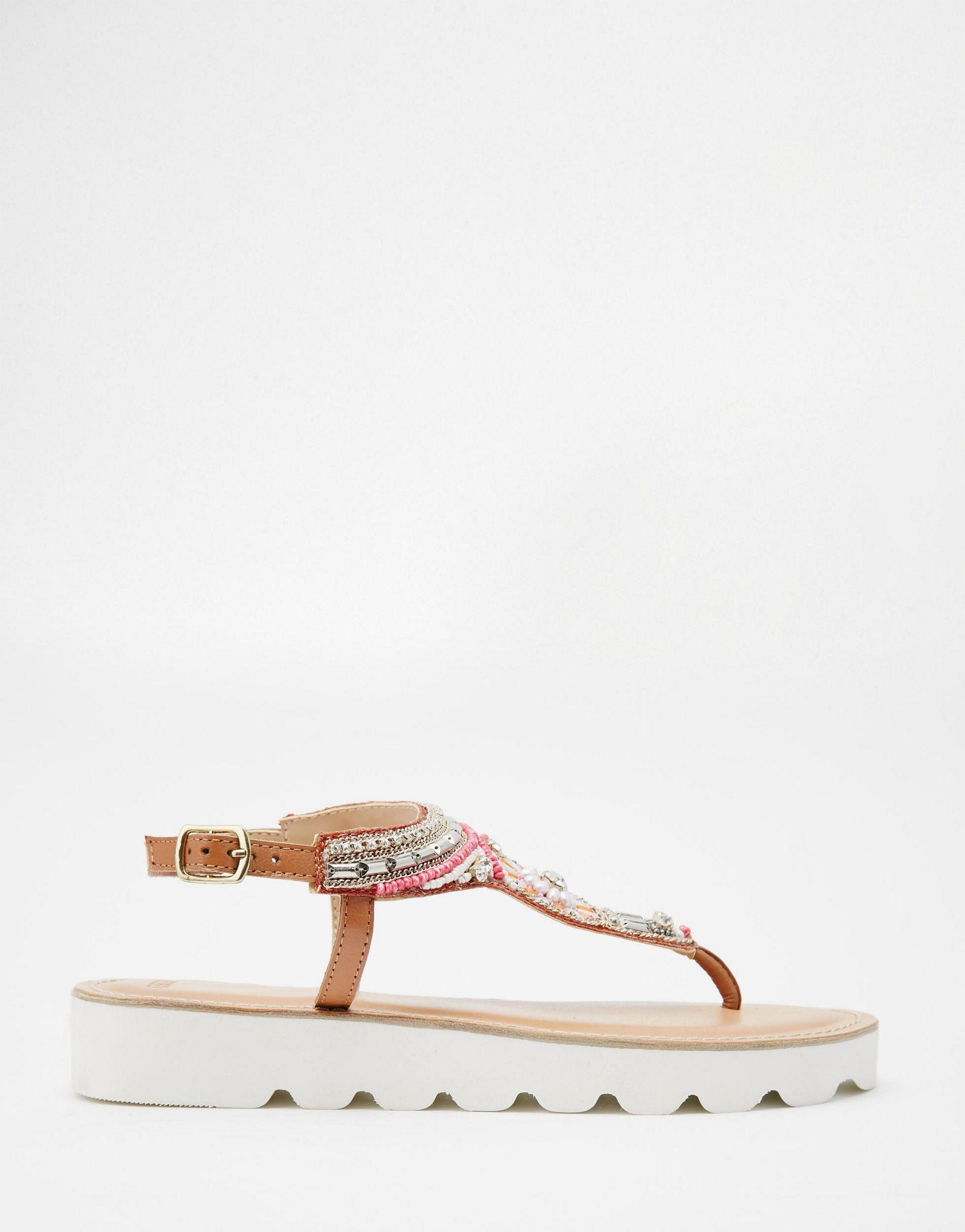 ac3a22f6b84 Lyst - Asos Flavia Leather Beaded Flatform Sandals in Natural