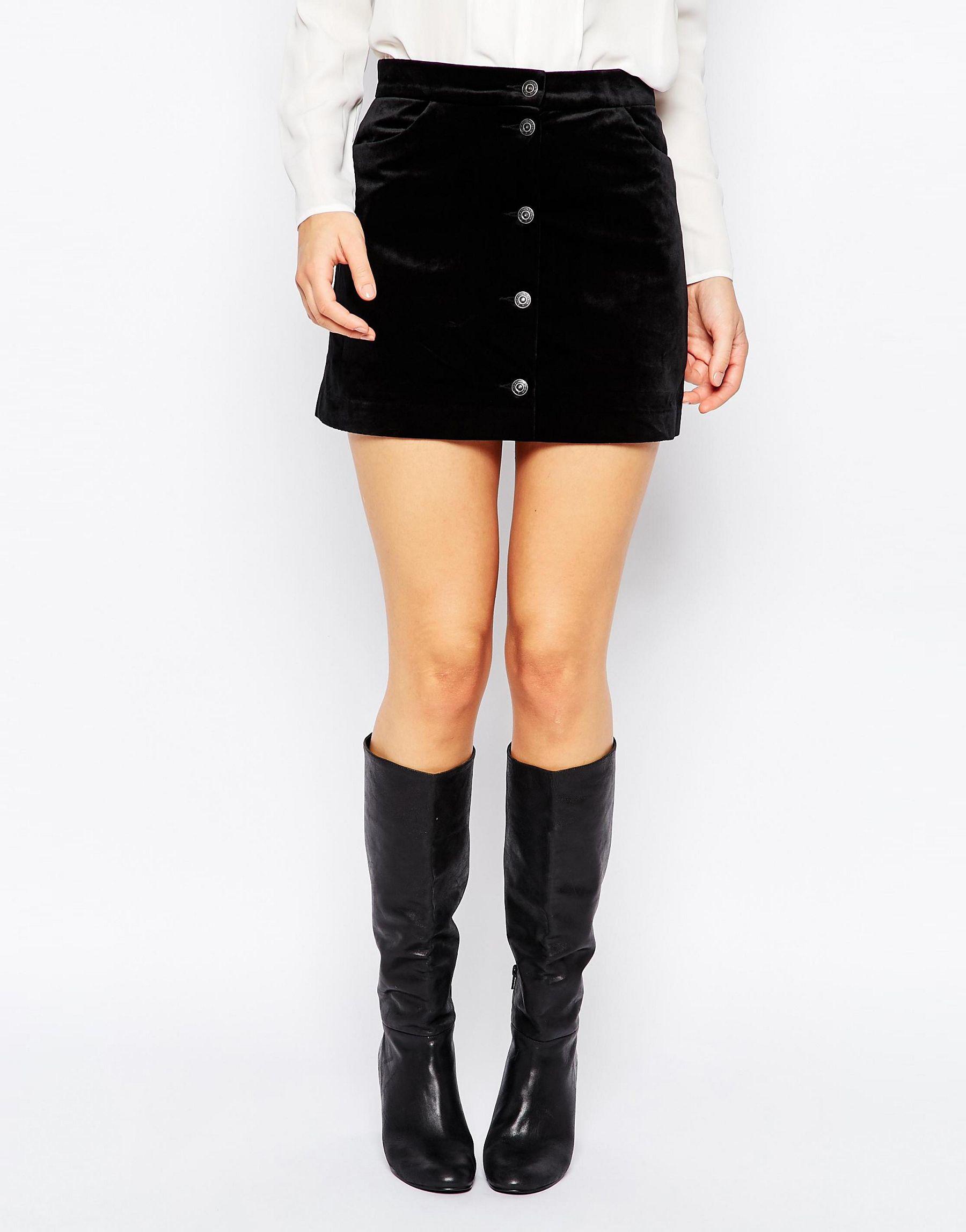 vero moda velvet a line skirt black in black lyst