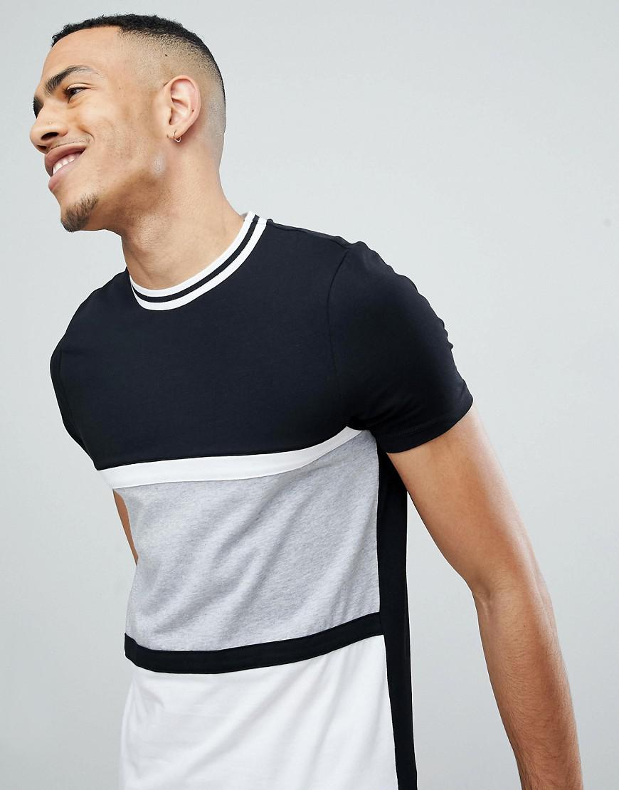 Classic Sale Online Cheap Outlet TALL Muscle T-Shirt With Curved Hem In Monochrome Colour Block With Tipping - Black Asos Clearance With Mastercard fyMYGzok2J