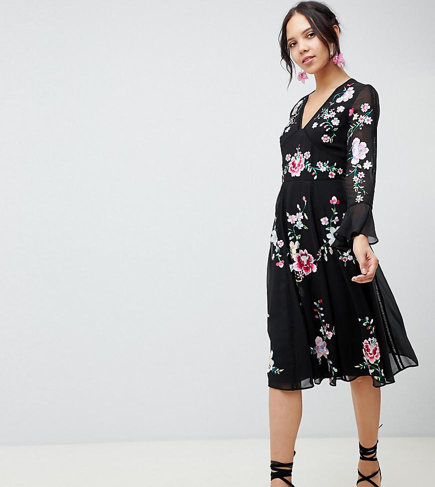 4c279504ca ASOS Asos Design Tall Embroidered Midi Dress With Lace Trims in ...