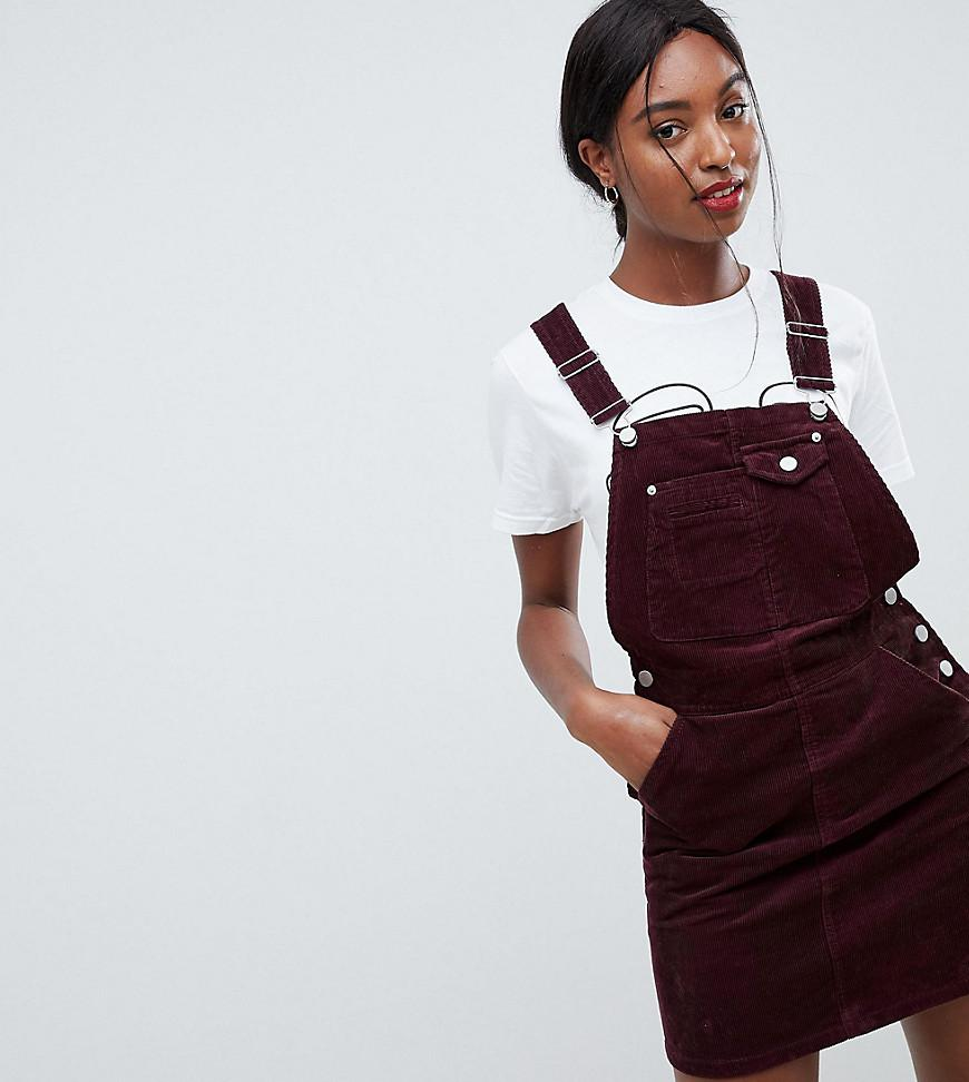 fdcf536218b ASOS Asos Design Tall Cord Dungaree Dress In Oxblood in Red - Lyst