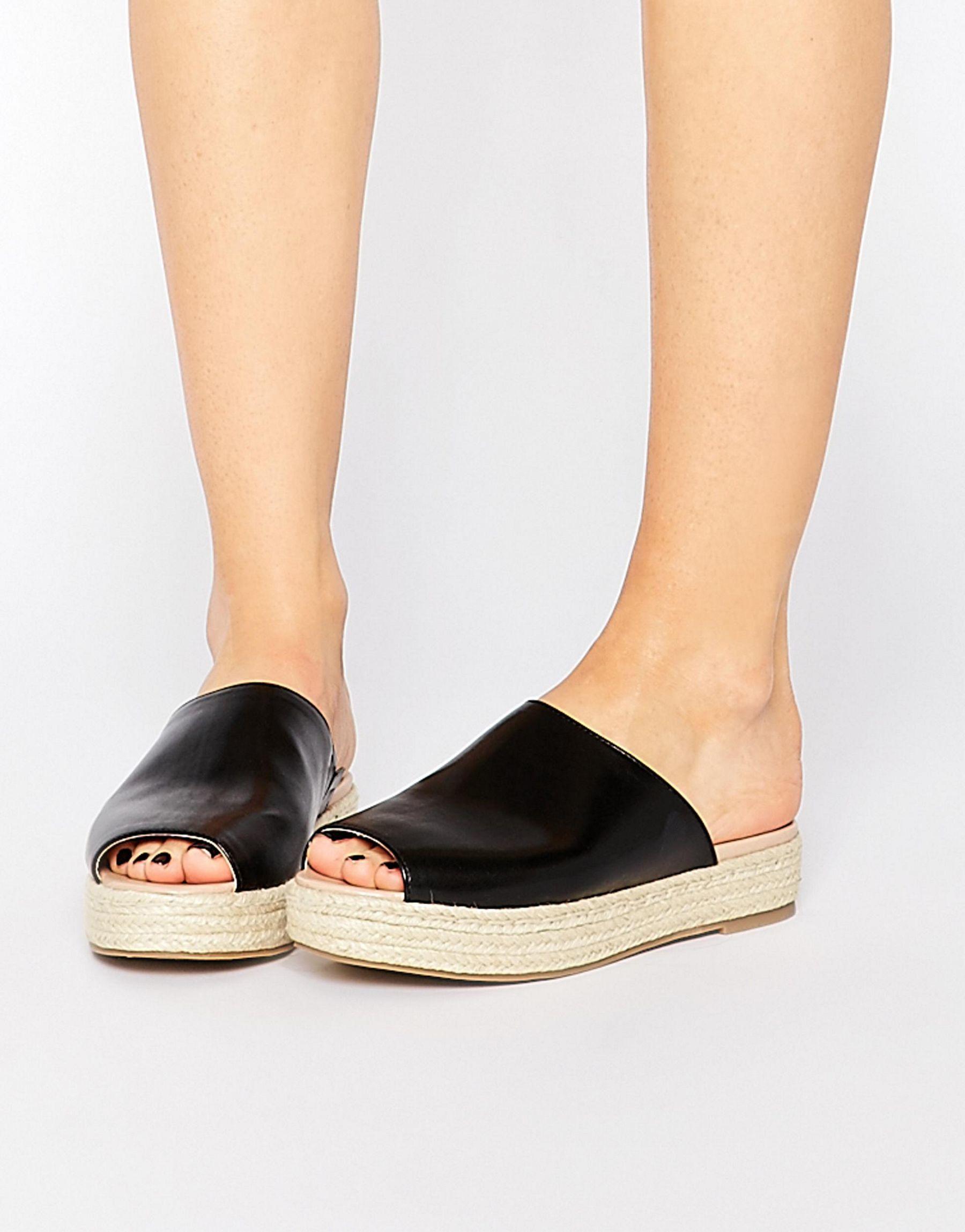 11ba79888e2252 London Rebel Slide Espadrille Flat Sandals in Black - Lyst