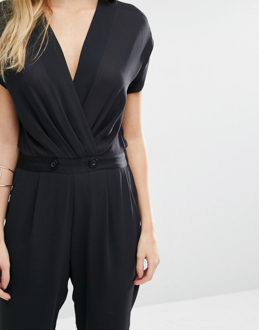Y A S Macy Jumpsuit With Wrap Front In Black Lyst