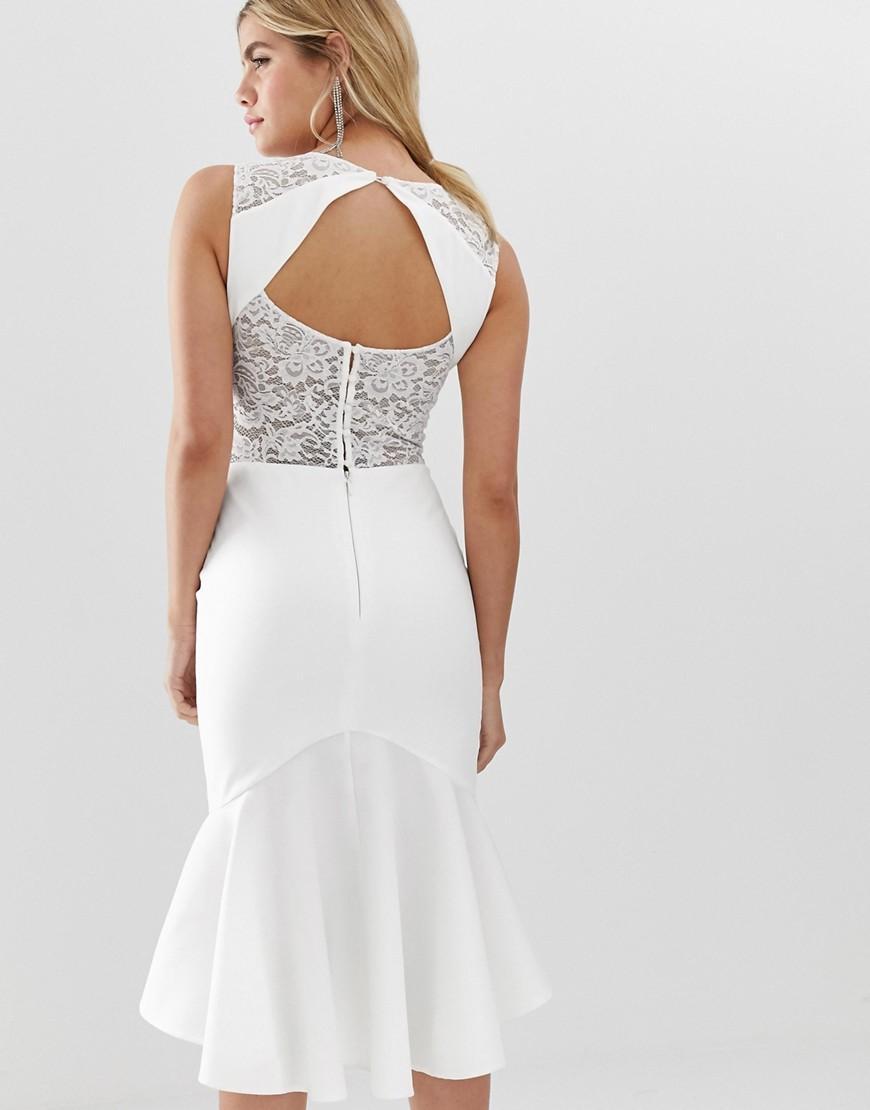 e2958e2e99e9 Lyst - Chi Chi London Lace Insert Midi Dress With Dip Hem In White in White