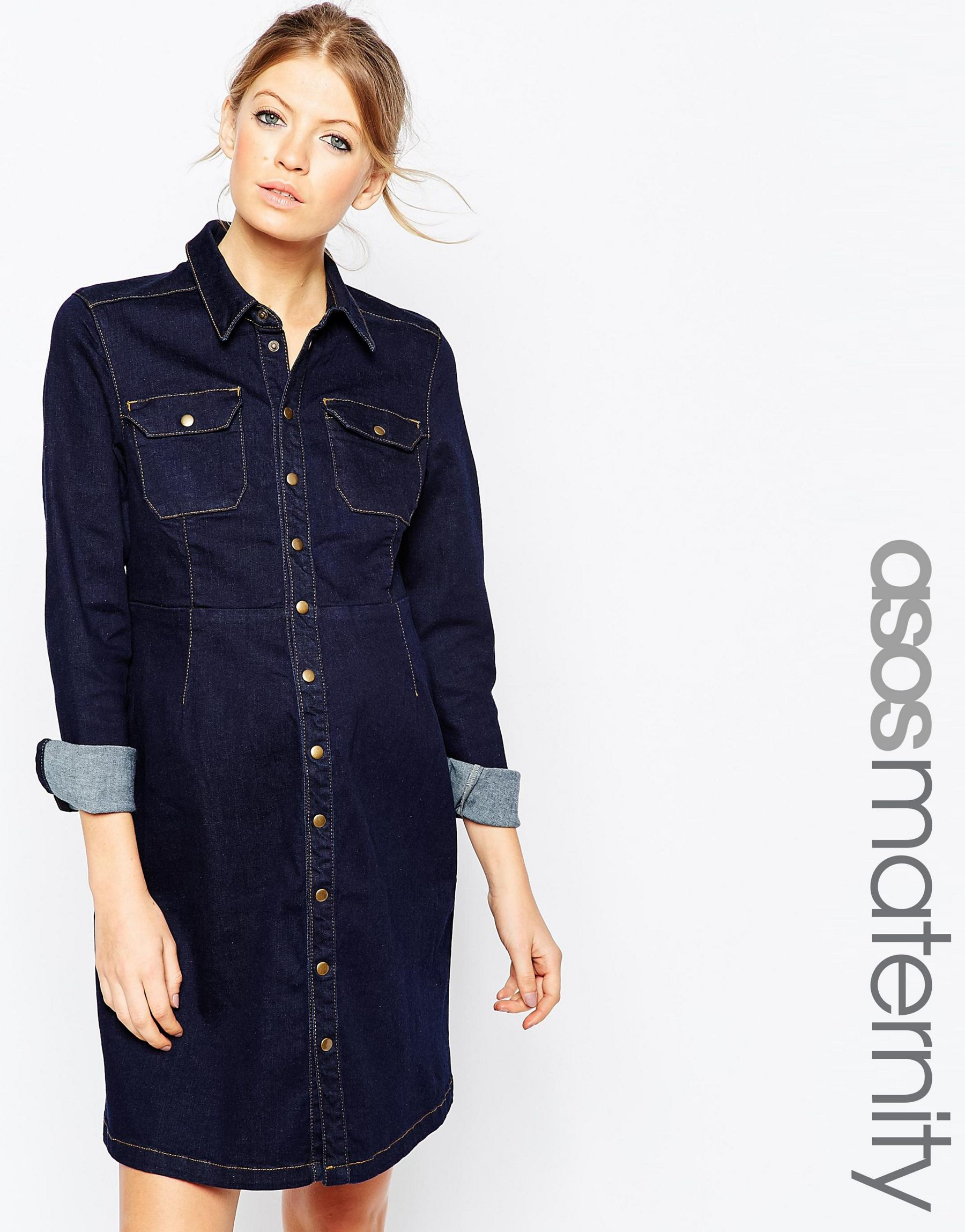 Asos maternity denim a line shirt dress in blue lyst gallery womens denim dresses ombrellifo Image collections