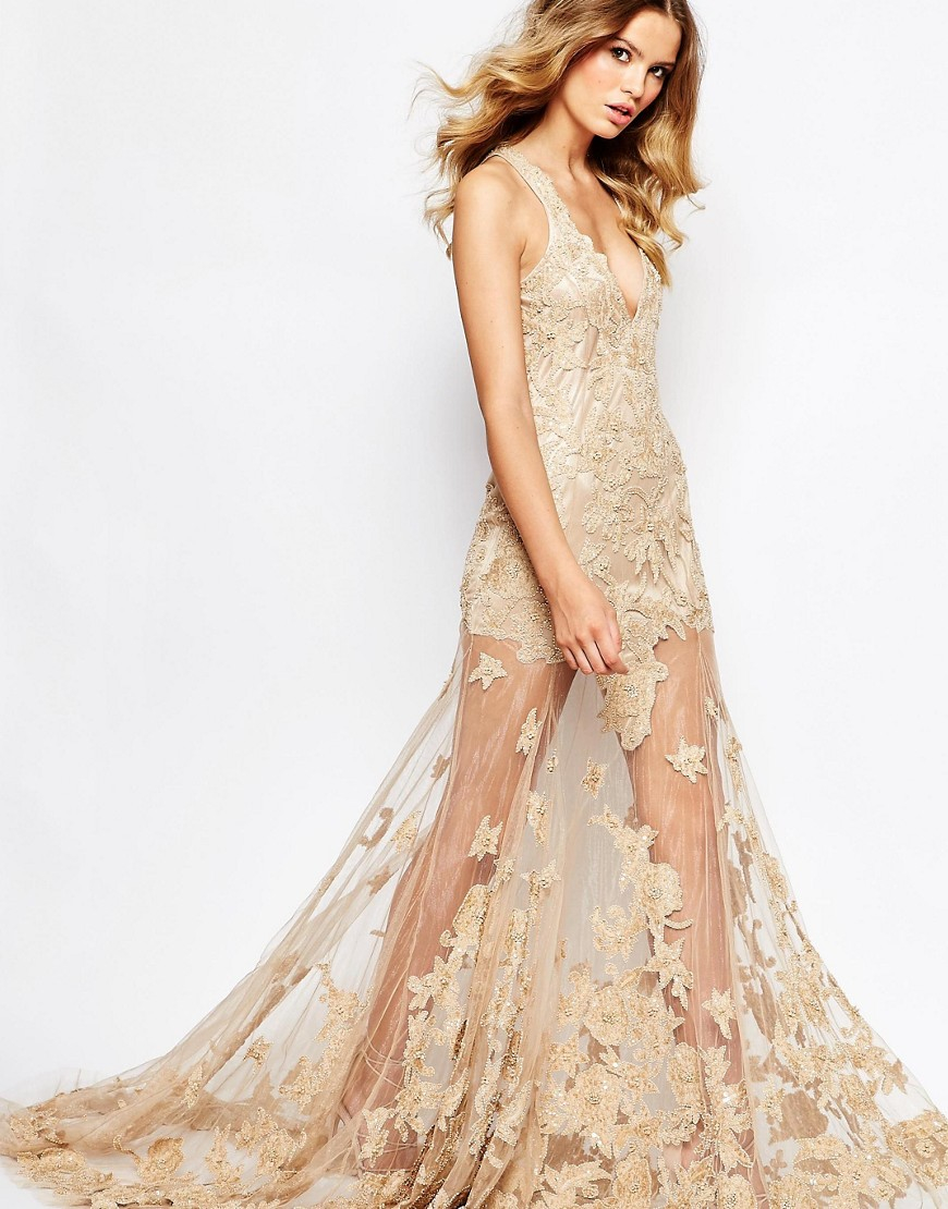 Star is born embellished crepe maxi dress in metallic lyst - Gallery