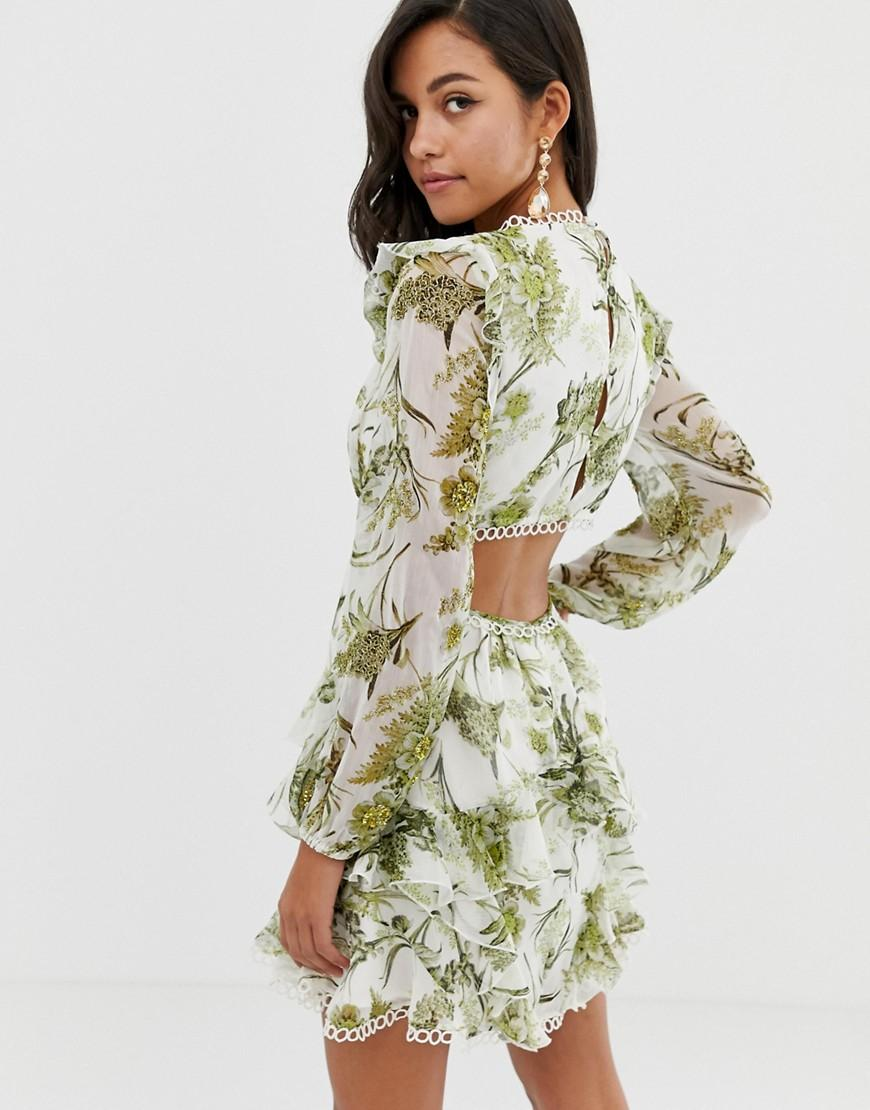 96e814dea74 ASOS Long Sleeve Mini Dress In Floral Print With Cluster Embellishment  Detail And Circle Trims in Green - Lyst