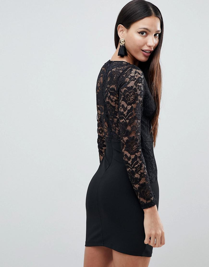 7040e423e9c Lyst - AX Paris Long Sleeve Deep V Shift Dress With Lace Detail in Black