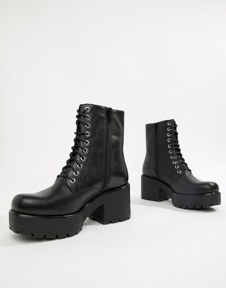 9ec85d564cad Lyst - Vagabond Dioon Lace Up Chunky Leather Ankle Boots in Black