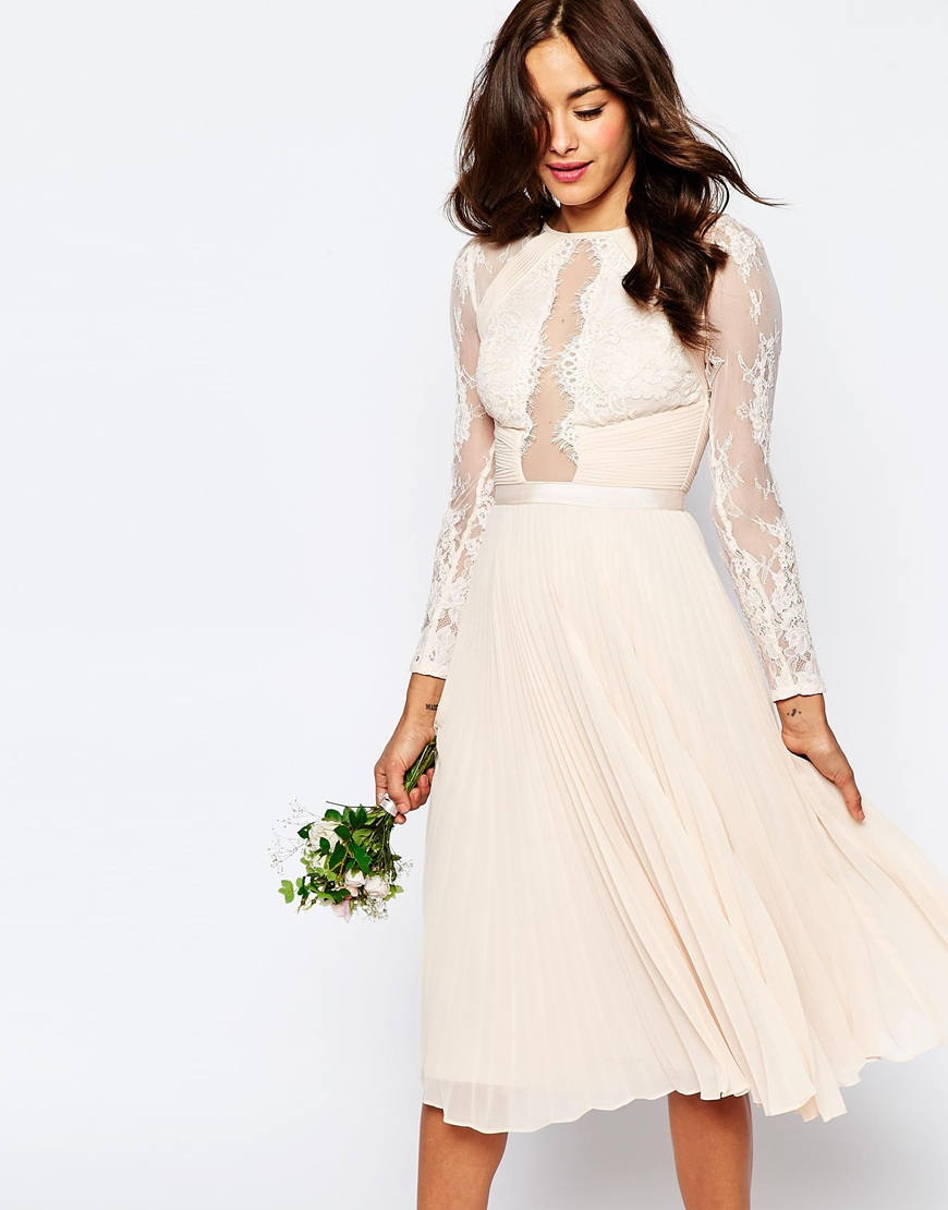 Lyst - ASOS Wedding Pretty Lace Eyelash Pleated Midi Dress in White 0a1858777