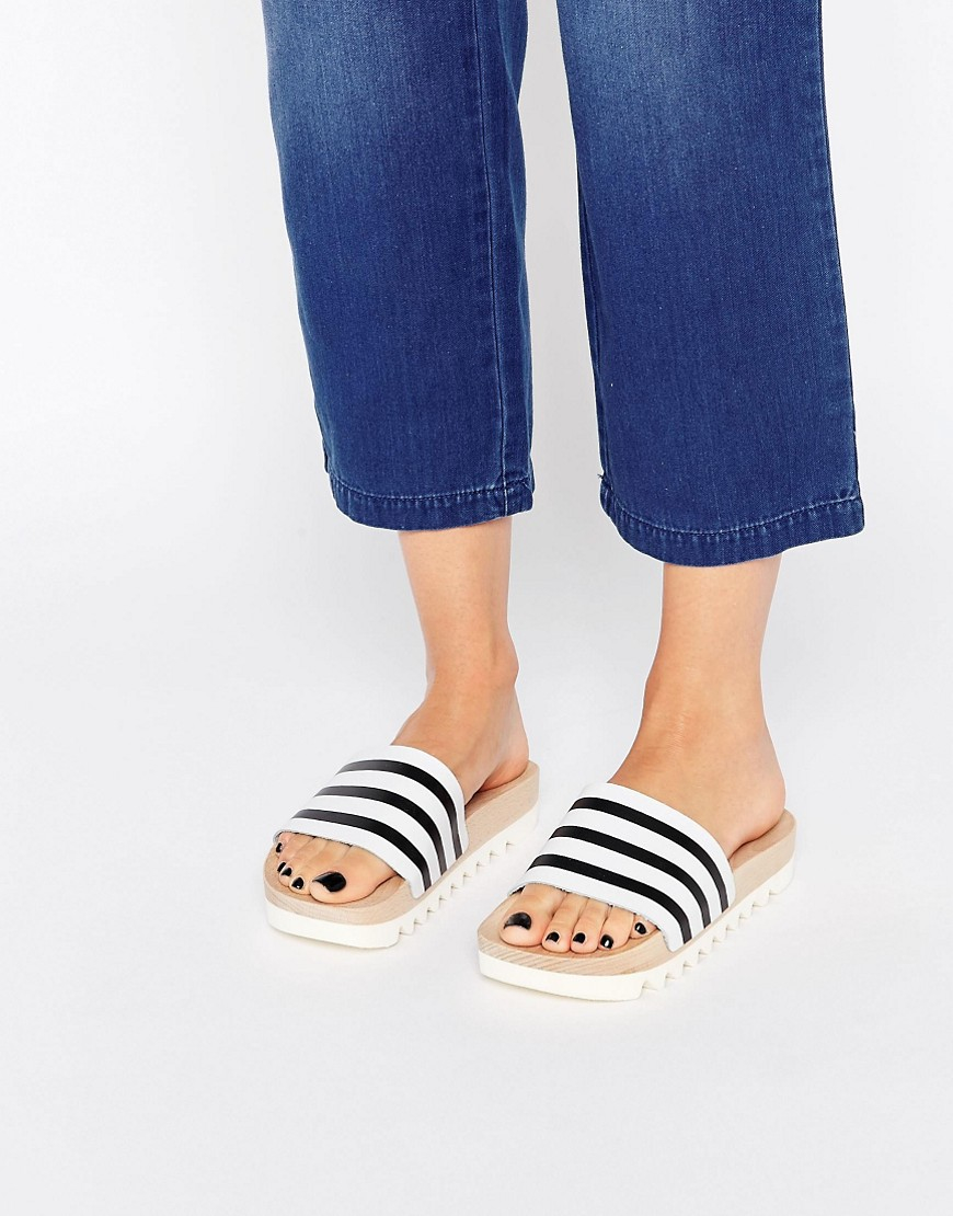 adidas Originals Cork Adilette Slider Sandals In Blue free shipping best prices clearance prices outlet pictures VkYkck